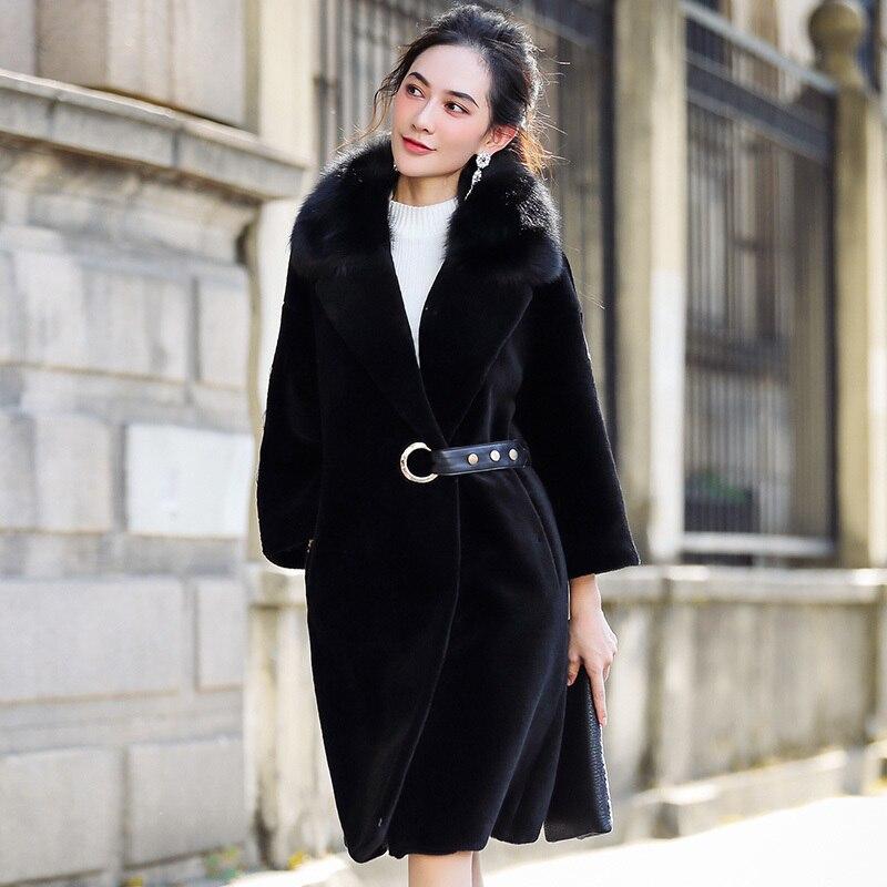 Winter Fashion Jacket Women Genuine Sheep Shearing Fur Coat Female Long Warm Real Fur Coat Natural Fox Fur Collar OT1743
