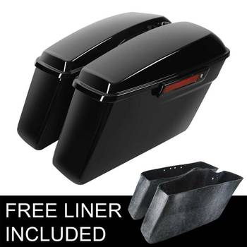 Motorcycle ABS Hard Saddlebags + Latch Keys For Harley Road King Electra Street Glide 2014-2020