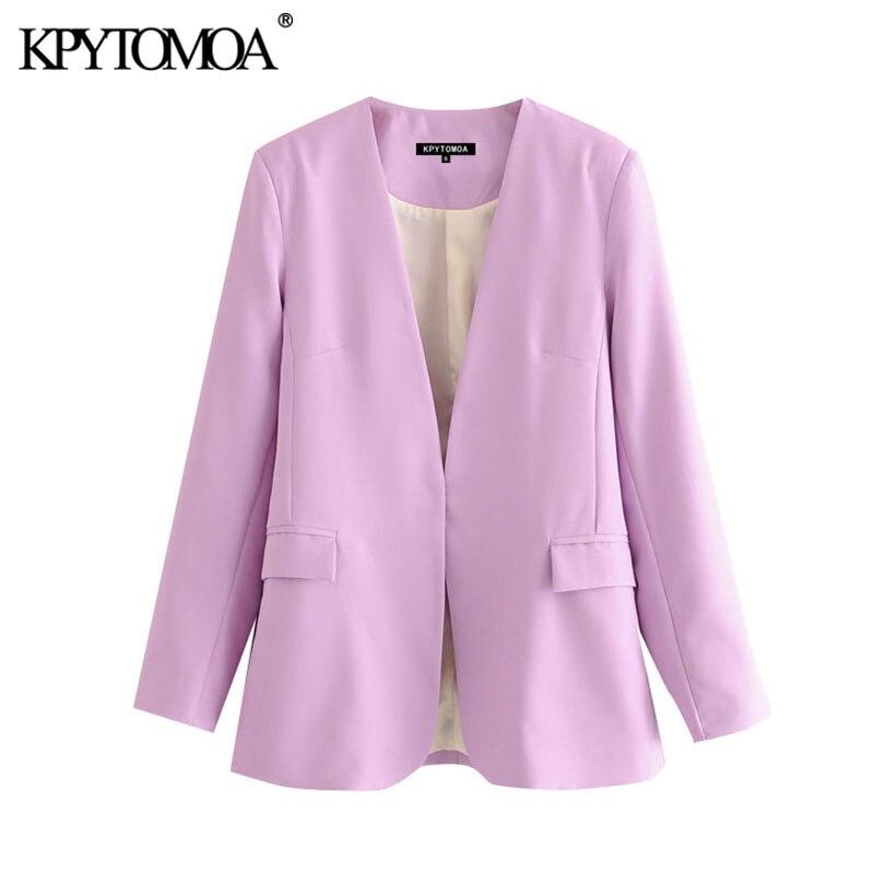KPYTOMOA Women 2020 Fashion Office Wear V Neck Blazer Coat Vintage Long Sleeve Back Vents Pockets Female Outerwear Chic Tops