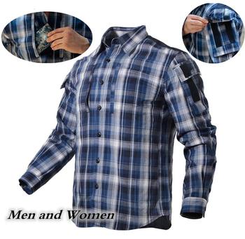 Entuzjasta militariów Plaid taktyczna koszula mężczyzna kobiet z długim rękawem oddychająca bawełniana w kratę koszula odkryty piesze wycieczki szkolenia koszula wojskowa mundur tanie i dobre opinie Pełna COTTON ZK-QZ17105 Pasuje prawda na wymiar weź swój normalny rozmiar Anty-pilling Anti-shrink Suknem CORDURA Blouse