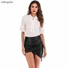 Sexy Summer Solid Crossed Overlap Slim Short Skirt Women Pleated PU Fashion Skirts Hot Irregular Fit Mini Skirt
