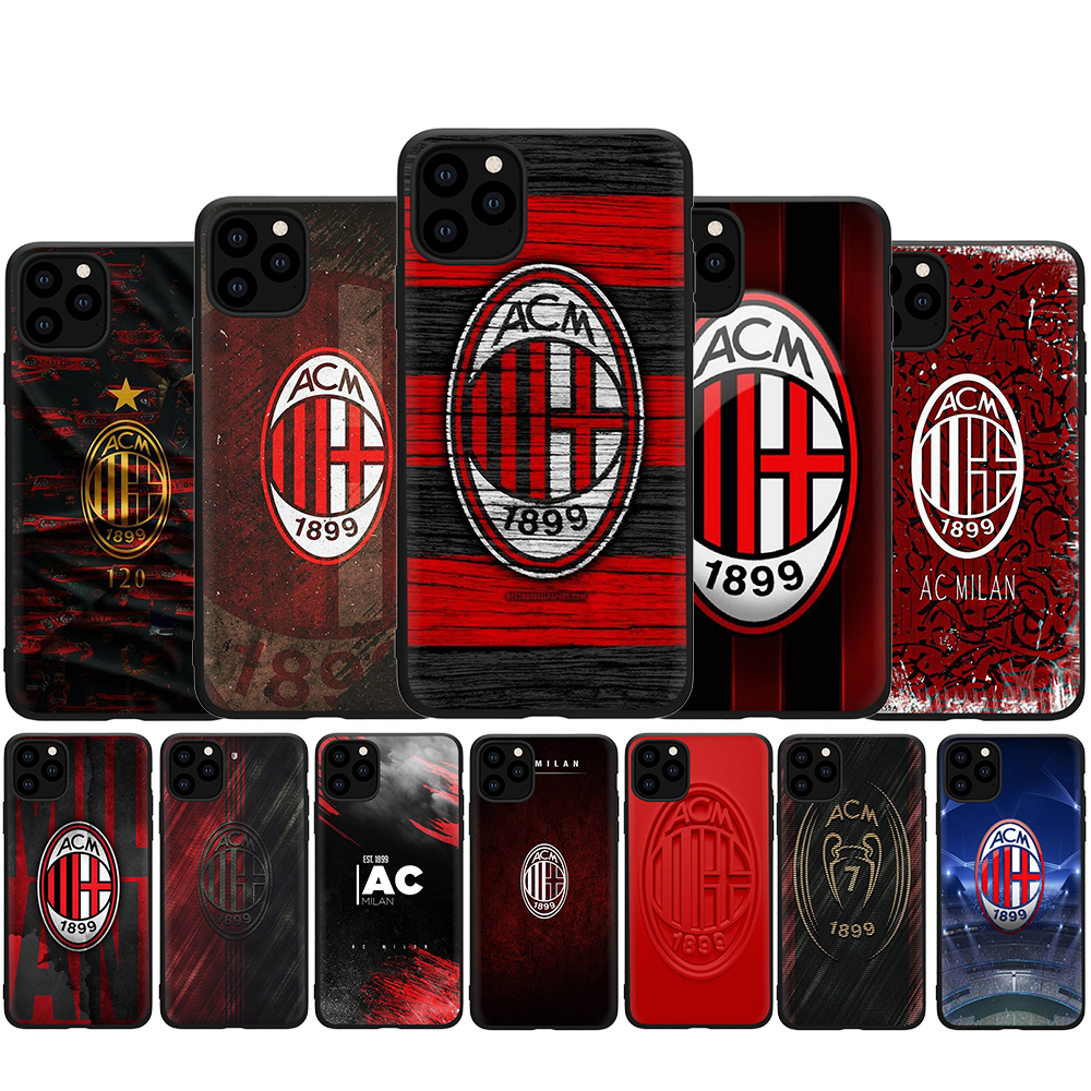Italian team AC Milan Silicone Case for iphone 5 5s SE 2020 6 6s 7 8 Plus X XR XS 11 pro Max Back Cover
