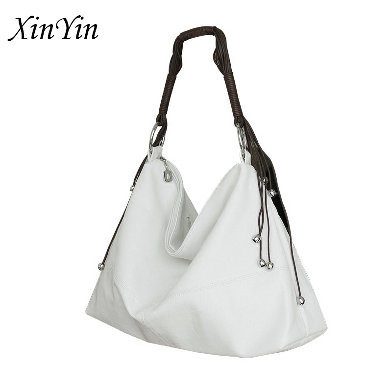 Simple Soft Leather White Bags For Women 2019 Large Tassel Handbag Elegant Ladies Hobo Shoulder Bag Messenger Purse Leisure
