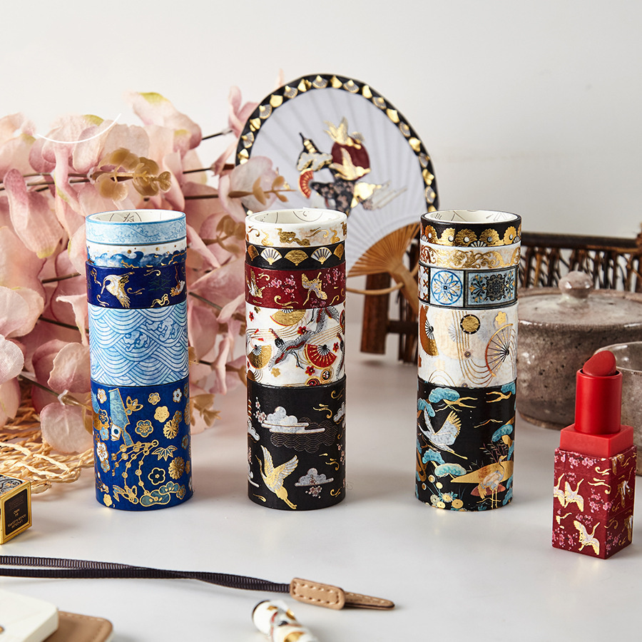 5pcs INS Design Paper Washi Tape Set Luxury Gold Crane Vintage Garden Flower Adhesive Masking Tapes Lipstick DIY Sticker A6313