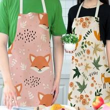 Aprons Kitchen-Supplies Linen Waterproof Cotton Cartoon 1pcs for Housework European-Style