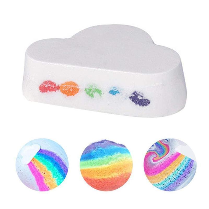Natural Cloud Shape Rainbow Bath Bomb Exfoliating Moisturizing Bath Salt Ball Bombs Skin Care Romantic Bath Salt Bath Bubble