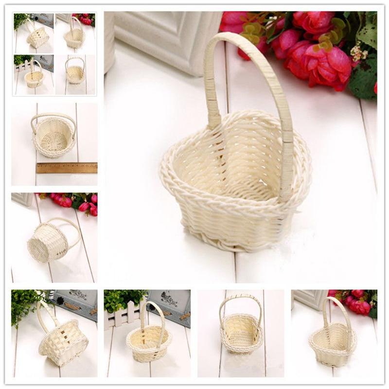 1Pcs Hand-woven Storage Baskets Mini Plastic Weaving Storage Baskets Fabric Flower Basket Fruit Rattan Cosmetics Tea Picnic Bags