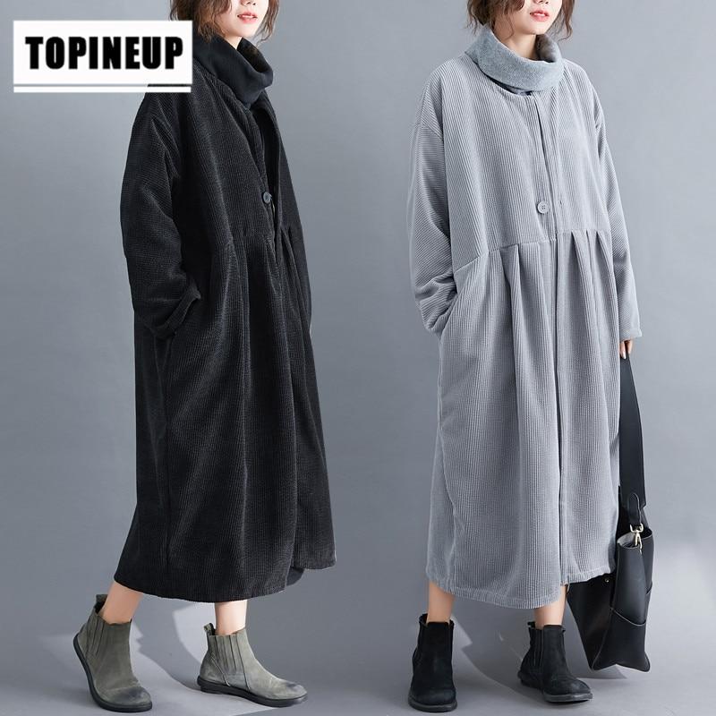Button Pocket Loose Corduroy Long Loose corduroy   trench   coat Korean Streetwear Women Casual Top Thin Autumn Spring