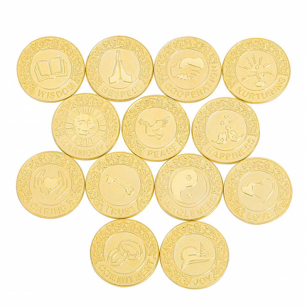 Angielskie srebrne wesele Arrhae jedność monety zestaw z pudełko ślub Arras monety ceremonia ślubna prezent dla par złota Arras de Boda