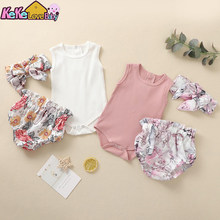Infant Newborn Baby Girl Clothes Knitted Solid Color Sleeveless Romper Flower Pants Headband New Born Summer Toddler Outfits Set