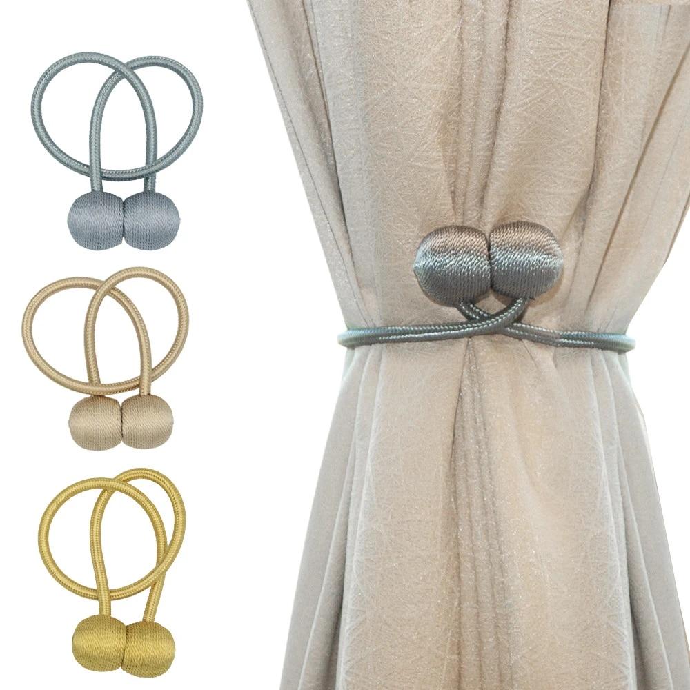 2pcs magnetic pearl ball curtain tiebacks tie backs holdbacks buckle clips accessory curtain decorative curtain rods accessoires