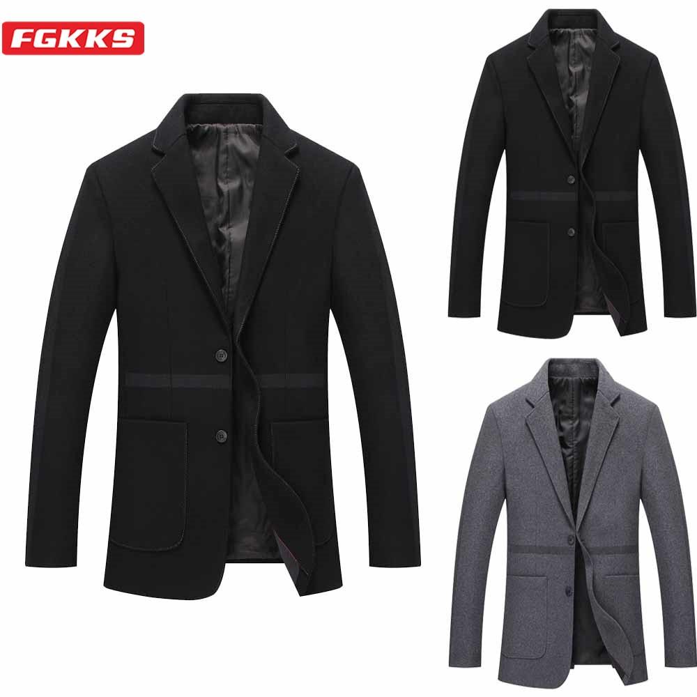 FGKKS Winter Brand Men Wool Coats Men's Fashion Slim Wild Overcoat Business Casual Solid Color Wool Blend Coat Male