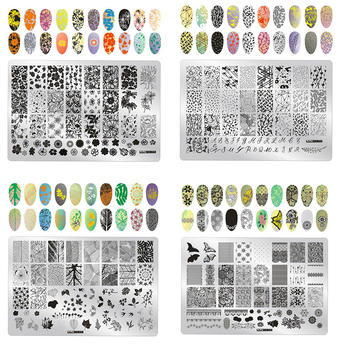 цена на 1pcs 14.5*9.5cm Nail Stamp Template Cartoon/Flower/Love Nail Art Stamping Plates Image Stencil Stamping Plate Stencil PlusOS