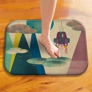 Image 2 - Tapis de sol épais en velours, tapis de sol décoratif pour hôtel, tapis de porte de cuisine, tapis de salle de bain.