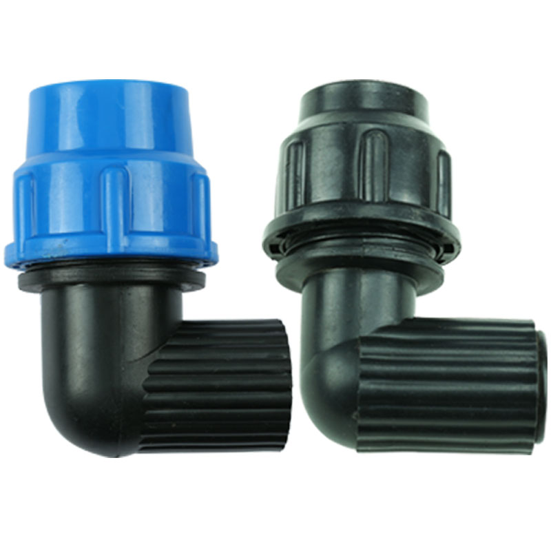 3/4'' BSPT Female Thread To 25mm Plastic Quick Connector Elbow Blue Black Caps Adapter PE Pipe Fittings For Irrigation