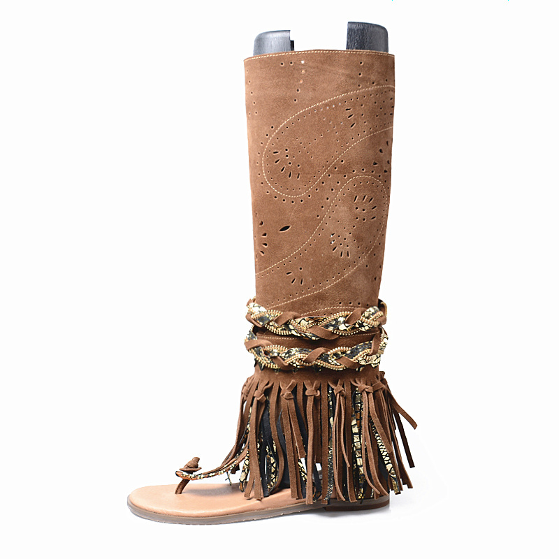 Runway Cow Suede Hollow Out Tassel Flat Gladiator Sandals Women Fashion Summer Long Boots Wedge Sandalias Plus Size 34-41 Khaki