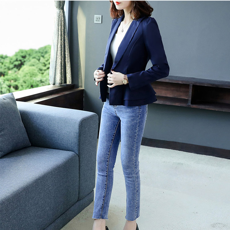 Autumn New Long-sleeved Small Suit Korean Version Self-Cultivation Jacket Fashion Ruffled Small Suit Short Paragraph
