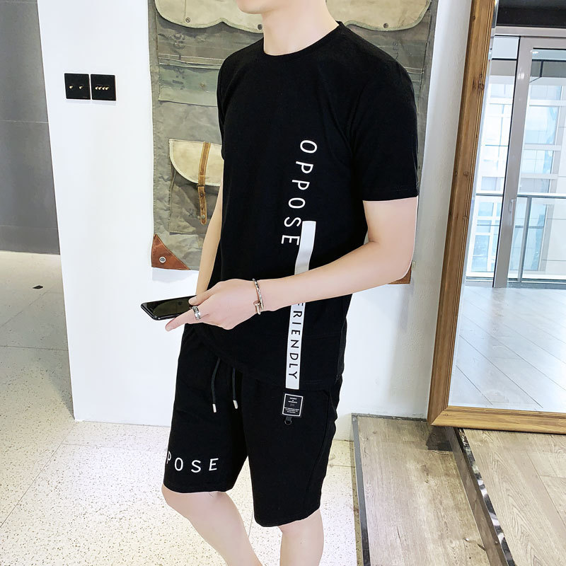 2019 Summer New Style Men Korean-style Slim Fit Short Sleeve T-shirt Sports Suit Shorts Leisure Suit Crew Neck Lettered