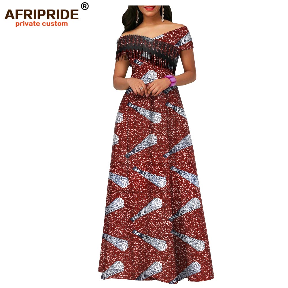 2019 africa spring dress for women ankara fabric tassel party wedding floor length women casual cotton