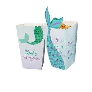Image 2 - קטן ספקי צד בת ים בת ים פופקורן תיבת Unicorn המפלגה סוכריות תיבת תיק ילדים לטובת יום הולדת מסיבת חתונת קישוט