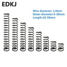 Ressorts de Compression en manganèse, petits ressorts de compression 1.0mm série 5 à 20mm longueur 10 15 20 25 30 35 40 45 50mm 65 10 pièces