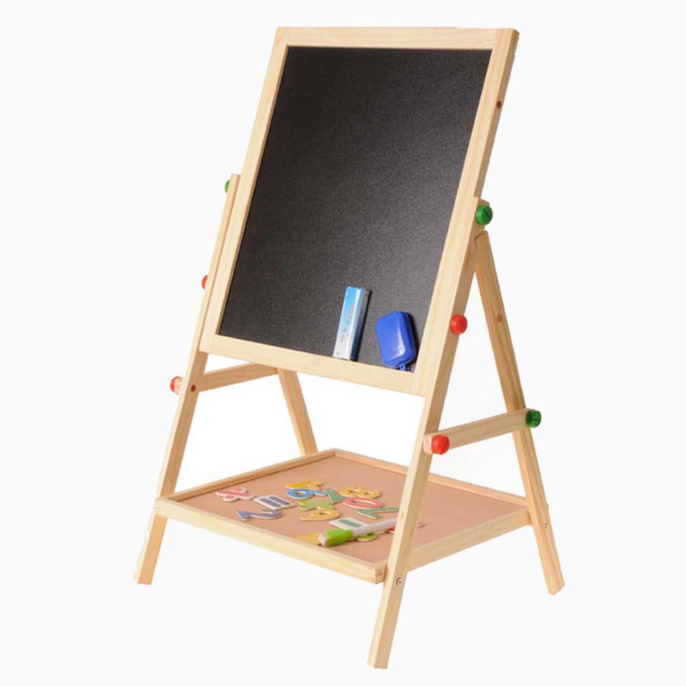 Children Painting Drawing Blackboard Wooden 2 In 1 Adjustable Blackboard Whiteboard Double Sided Kid Drawing Writing Board Easel
