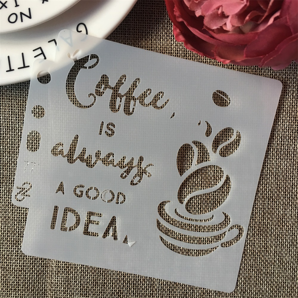 5inch Cup Coffee Idea Words DIY Layering Stencils Painting Scrapbook Coloring Embossing Album Decorative Card Template