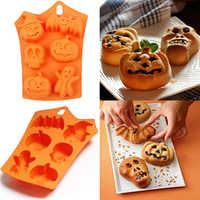 Molde de silicona de Halloween Fondant pastel galleta molde de cocina hornear herramienta Halloween decoración Chocolate Fudge calabaza molde Dropship