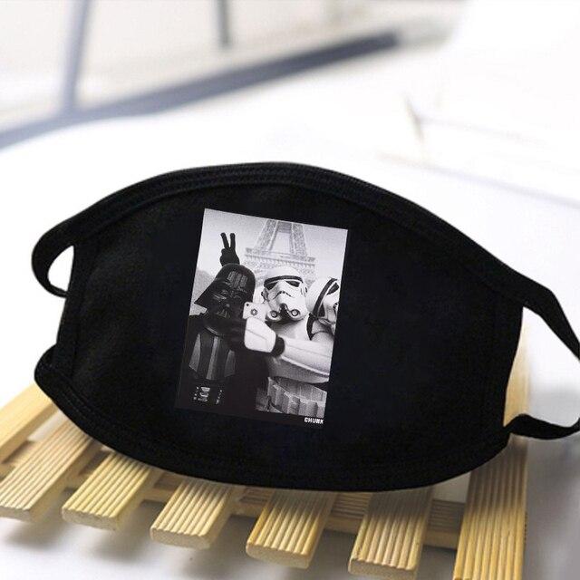 Star Wars Print Washable Dustproof masque Mouth-Muffle Fashion Mask Baby Yoda Mandalorian Men Women Black Casual Warm Kpop Masks 2