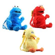 3 style 45cm Sesame Street Plush Backpack Red Elmo Blue Cookie Guy Yellow Big Bird Plush Bag Children's School Bag Free Shipping