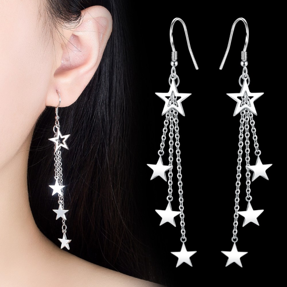 NEHZY 925 sterling silver new woman fashion jewelry high quality retro simple five-pointed star exaggerated long tassel earrings