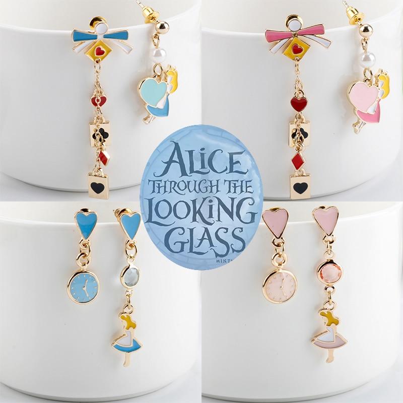Женские серьги в стиле Алисы и страны чудес, 5 стилей, часы принцессы, покерные карты, асимметричные Висячие серьги, Модная бижутерия, серьги-...
