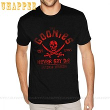 The Goonies Never Say Die Grey On Black Classic Tees Youth Guy 80S Hip Hop Tee Homme Short Sleeve Discount Branded Clothing