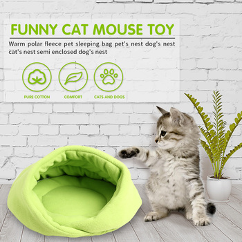 Winter Warm Pets Mat 7 Colors Soft Fleece Thicken Nest Pet Cat Small Dogs Puppy Kennel Bed Kitten Cave Sleeping Bag Puppy House image