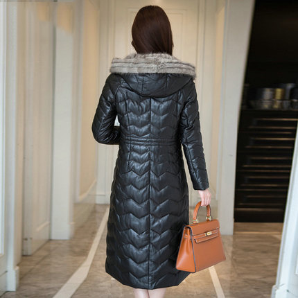 Winter Women's Sheepskin Genuine Leather Jacket Duck Down Long Water Mink Hair Ladies' Leather Coat Plus Size LX928