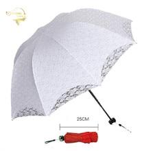 2021 Summer Foldable Lace Umbrellas Steel Handle Cotton Embroidery Lace Parasol Sun Umbrellas Wedding Decoration Bridal Umbrella