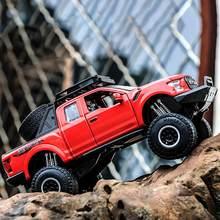 Mini caminhão de coleta toy1: 32 pick-up modelo de carro de brinquedo para ford f150 raptor som e luz e carro deslizante