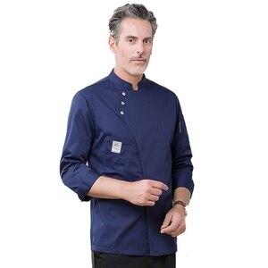 Image 5 - Yeni şef üniforma Unisex şef elbise fırın restoran mutfak iş elbisesi uzun kollu garson Catering şef ceketler Jaleco