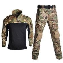 Caminhadas militar airsoft uniforme tático ternos camuflagem roupas de caça paintball sniper combate shirtpants cotovelo/joelheiras