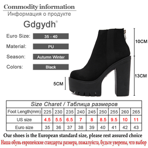 Image 5 - Gdgydh Fashion Black Ankle Boots For Women Thick Heels Spring Autumn Flock Platform Shoes High Heels Black Zipper Ladies Boots