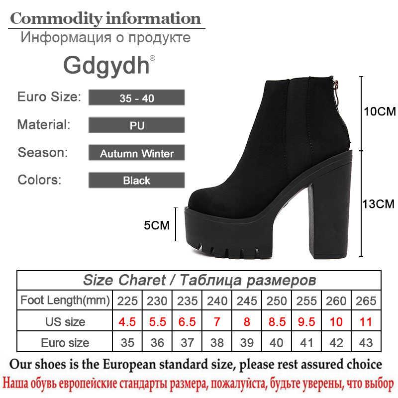 Gdgydh Mode Zwarte Enkellaars Voor Vrouwen Dikke Hakken Lente Herfst Flock Platform Schoenen Hoge Hakken Zwarte Rits Dames Laarzen