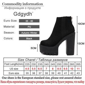 Image 5 - Gdgydh moda siyah yarım çizmeler kadınlar için kalın topuklu bahar sonbahar akın platformu yüksek topuklu ayakkabı siyah fermuar bayan botları