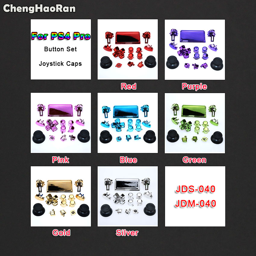 ChengHaoRan Full Sets Chrome Joysticks D-pad R1 R2 L1 L2 ABXY Buttons For Sony PS4 Pro Slim JDS 040 JDS-040 Wireless Controller