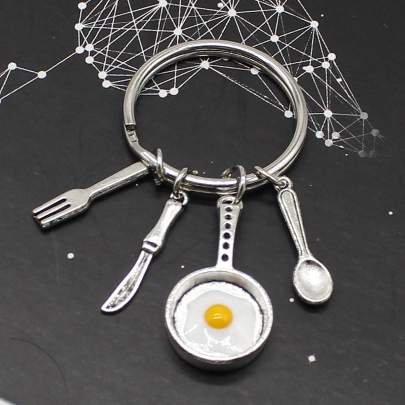 Keychain Chef Gift Chef Keychain Omelette Keychain Frying Pan Cutlery Kitchen Keychain Gift