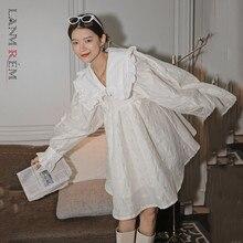 LANMREM 2021 sonbahar Peter pan yaka a-line üstü-diz boyu sokak giyim güzel prenses tarzı uzun kollu beyaz elbise 2A534