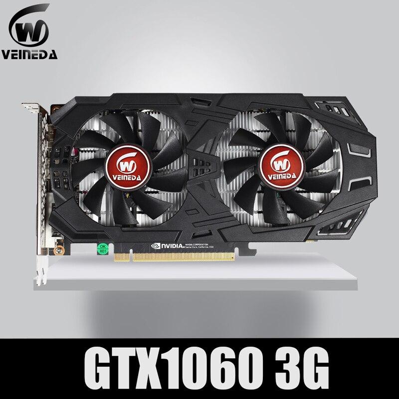Carte graphique VEINEDA GTX 1060 3GB 192Bit GDDR5 carte graphique GPU PCI-E 3.0 pour les jeux nVIDIA gebefore Series plus solides que GTX 1050Ti