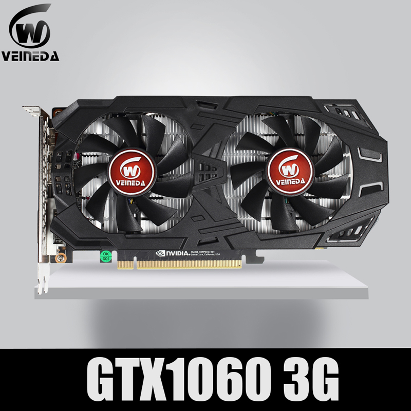 VEINEDA carte graphique GTX 1060 3GB 192Bit GDDR5 carte vidéo GPU PCI-E 3.0 pour les jeux de la série nVIDIA gebefore plus forts que GTX 1050Ti