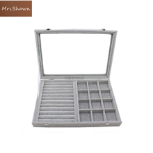 Mrs.Shawn  Big Velvet Gray Carrying Case with Glass Cover Jewelry Ring Display Box Tray Holder Storage Box Organizer Earrings Ri