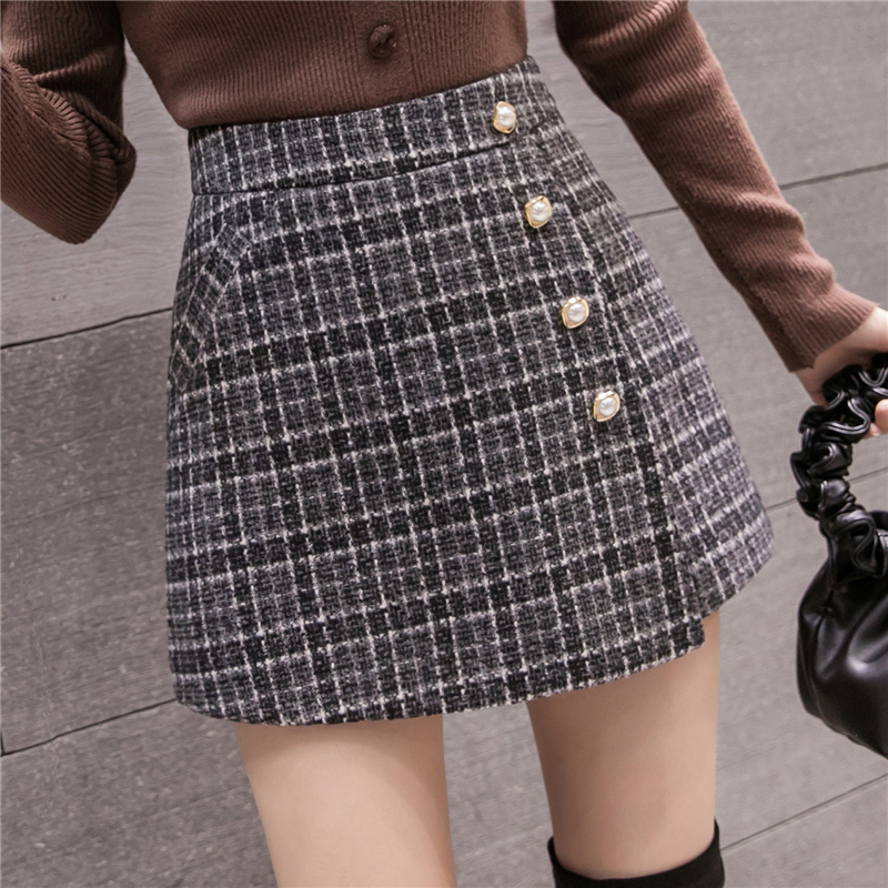 New Fashion Tweed Plaid Shorts Skirts Womens Autumn Winter Single Breasted High Waist Woolen Shorts Woman Casual Culottes