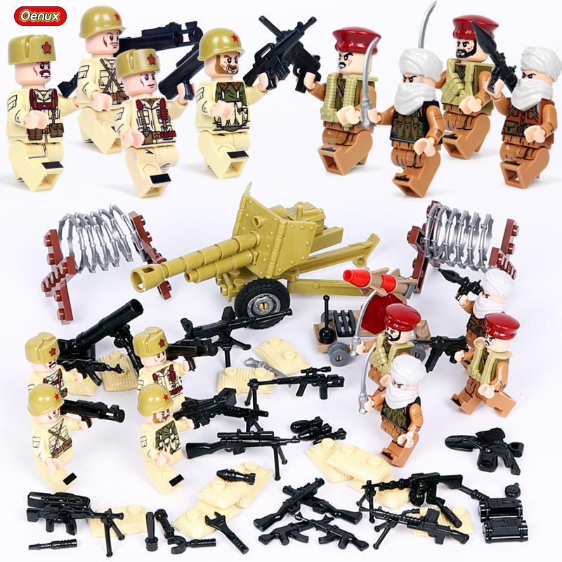 Oenux New Arrival WW2 Soviet Army VS Middle East Army Military Building Block font b Toy